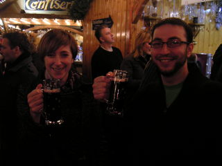Claudia and Justin enjoy the gluhwein